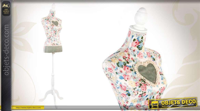 mannequin de couture floral en bois et en tissu. Black Bedroom Furniture Sets. Home Design Ideas