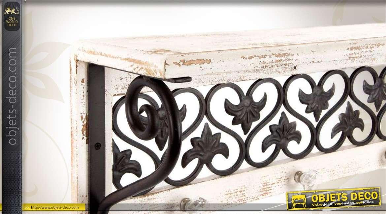 Porte-manteaux mural 4 patères bois et métal