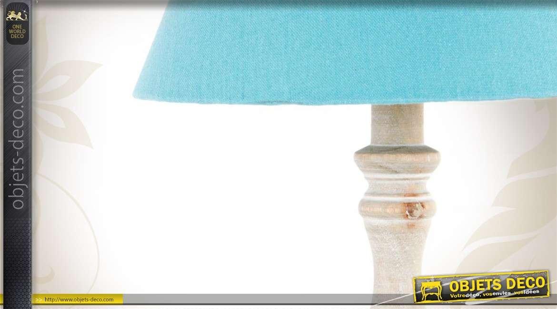 Lampe de chevet en bois avec abat jour en tissu bleu - Abat jour lampe de chevet ...