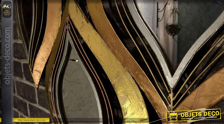 Miroir déco de style moderne, en métal aux finitions brillantes, bronze et doré