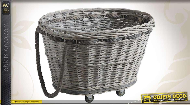 Chariot à bûches sur roulettes en éclisse grise