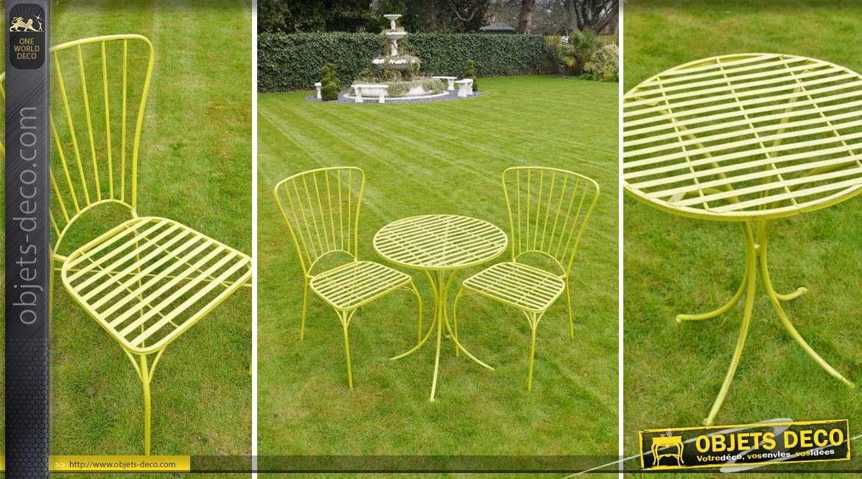 Salon de jardin 2 places moderne en métal coloris vert pomme