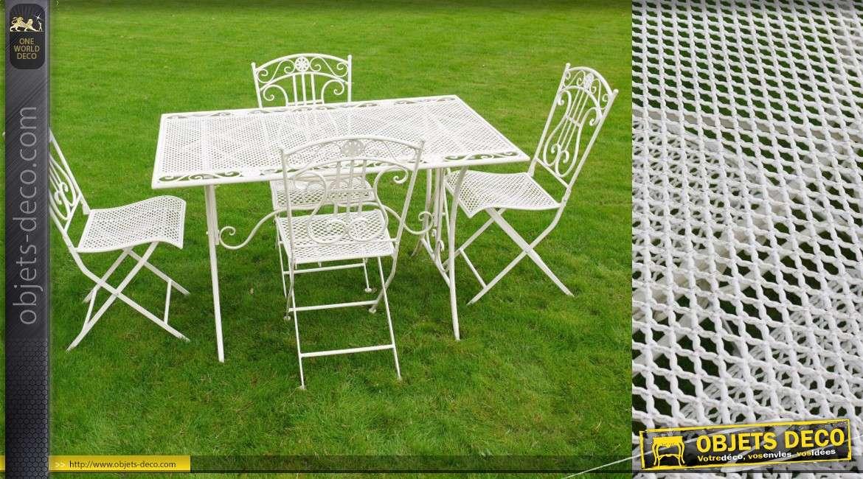 Salon de jardin en métal et fer forgé coloris blanc 4 places