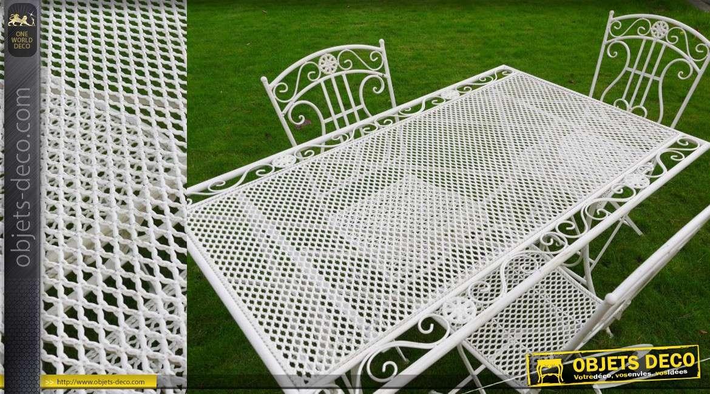 salon de jardin en m tal et fer forg coloris blanc 4 places. Black Bedroom Furniture Sets. Home Design Ideas