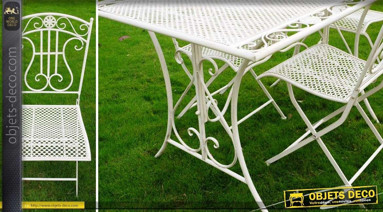 Salon de jardin en m tal et fer forg coloris blanc 4 places for Objet deco jardin metal
