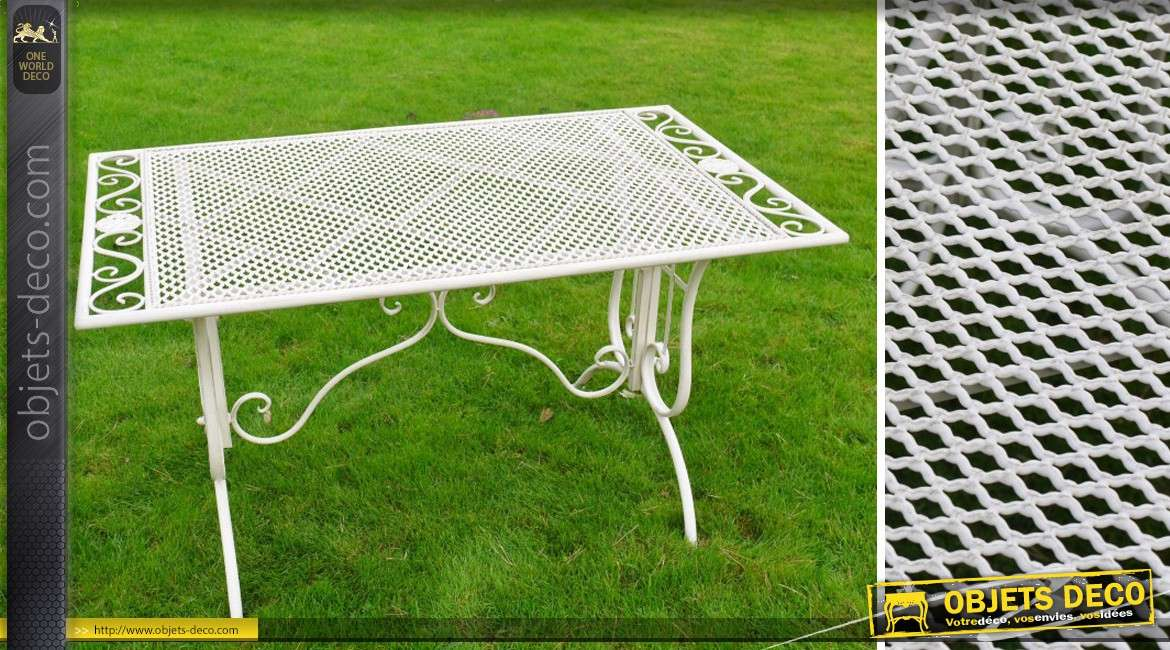 Table Basse De Jardin En Metal Et Fer Forge Coloris Blanc Antique