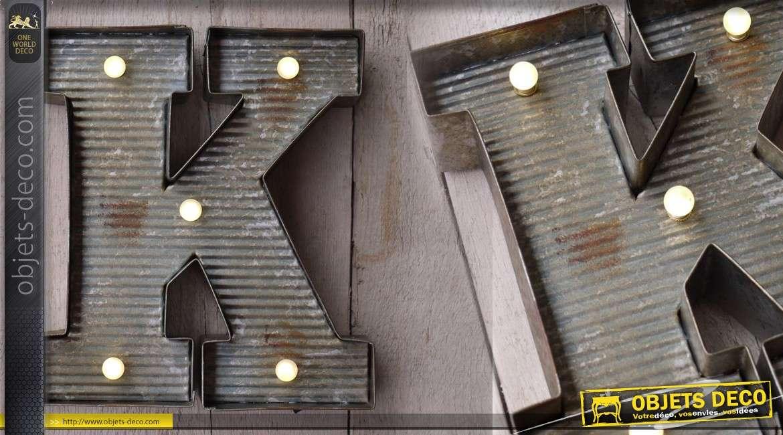 D coration murale en m tal lettre k avec clairage led - Decoration murale led ...