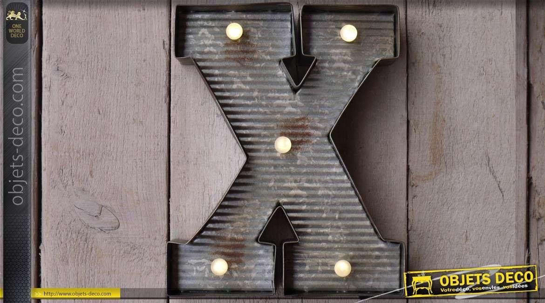 D coration murale en m tal lettre x avec clairage led - Decoration murale led ...
