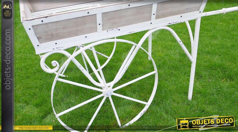 Grand chariot jardinière en bois et métal style rétro