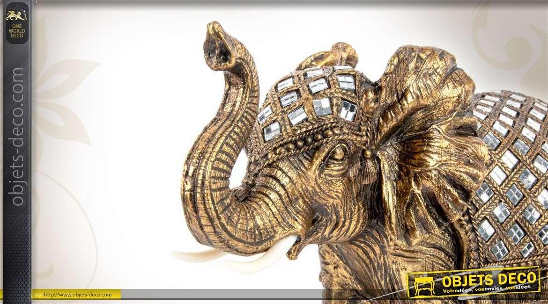 Grande statuette d coratif d 39 l phant finition dor e et for Objet deco animaux