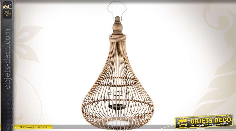 grand bougeoir photophore de table en bambou 61 cm. Black Bedroom Furniture Sets. Home Design Ideas