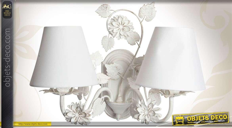 Applique murale double style romantique coloris blanc