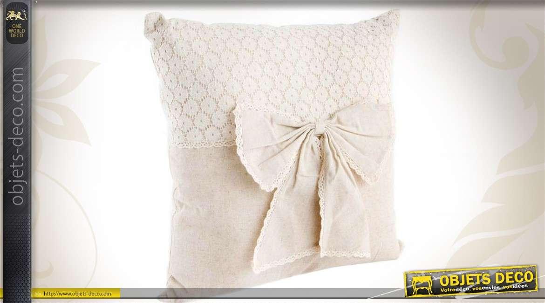 coussin lin cru ruban et motifs broderie anglaise 40 x 40 cm. Black Bedroom Furniture Sets. Home Design Ideas