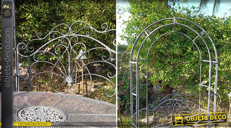 Banc de jardin avec arche pergola coloris gris antique