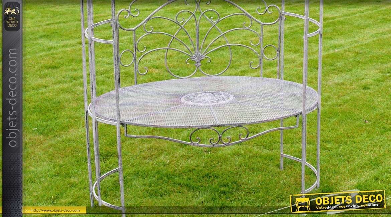 banc de jardin avec arche pergola coloris gris antique. Black Bedroom Furniture Sets. Home Design Ideas