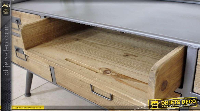 Meuble tv r tro de style industriel bois et m tal avec 5 for Meuble 5 tiroirs