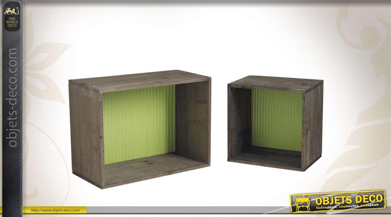 Série de 2 étagères en bois et en zinc coloris noir et vert