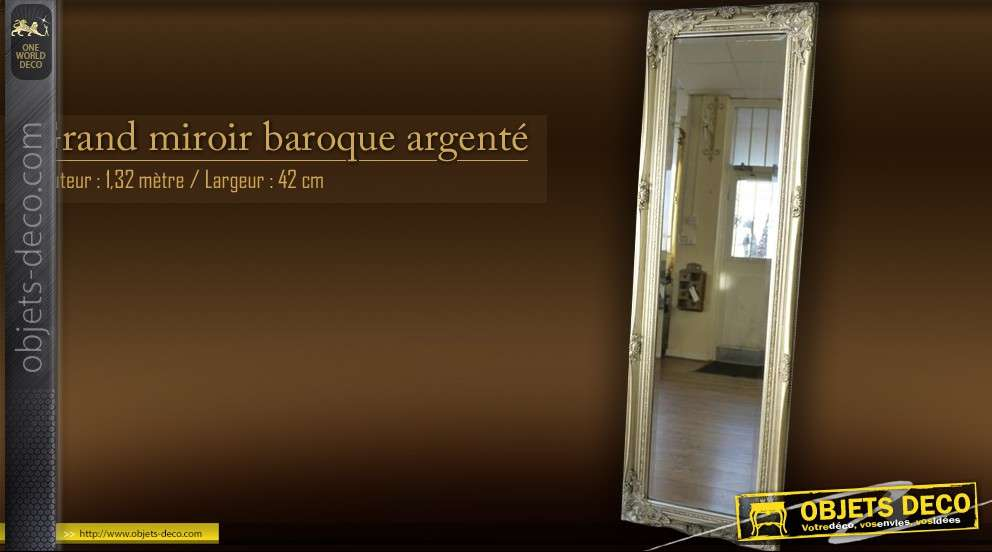 Grand miroir style ancien argent 132 cm for Le grand miroir