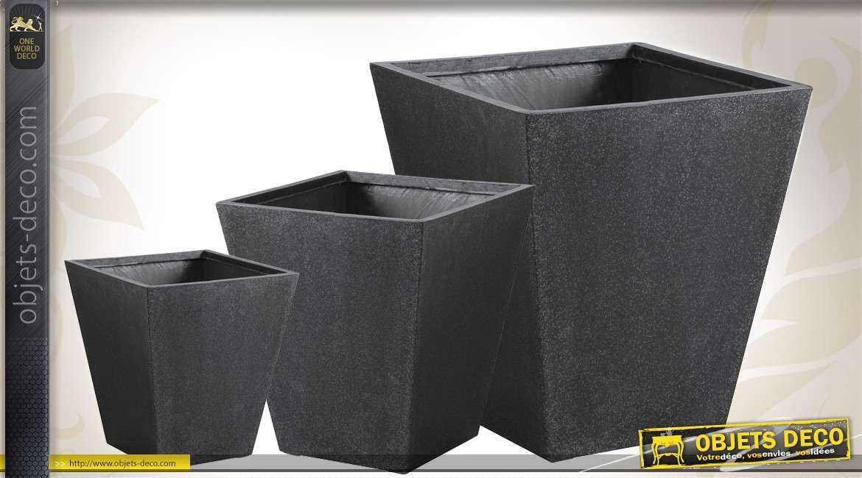 Série de 3 cache-pots en poly-terrazzo