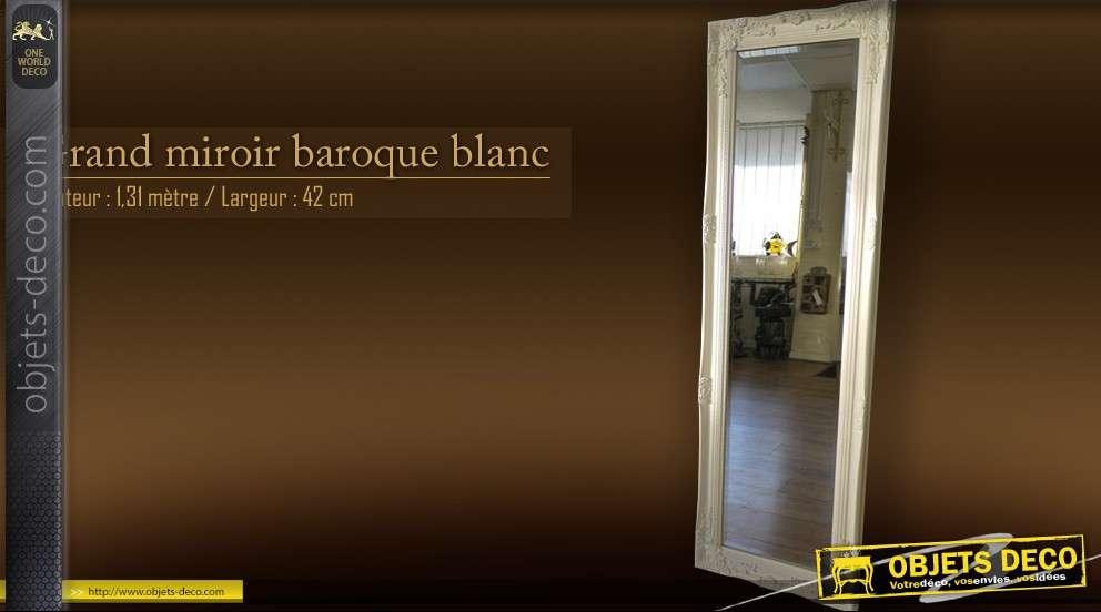 Haut Miroir Style Ancien Dore Avec Decors De Fleurs 122 Cm