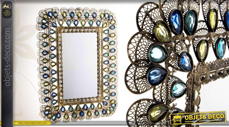Miroir strass d co en m tal avec ocelles translucides for Miroir emde deco