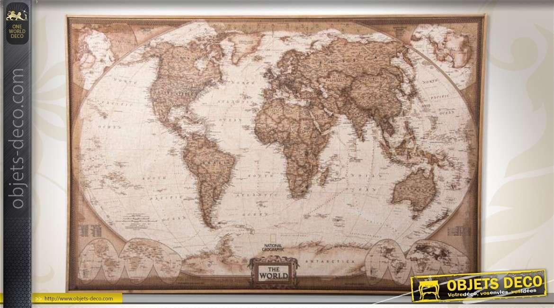 grande mappemonde antique en tissu tendu sur cadre bois. Black Bedroom Furniture Sets. Home Design Ideas