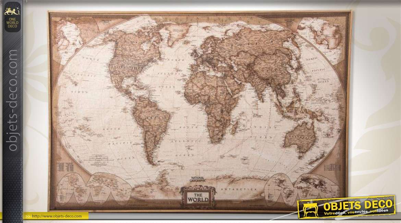 Grande mappemonde antique en tissu tendu sur cadre bois