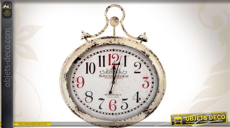 grande horloge murale ovale en m tal style vintage. Black Bedroom Furniture Sets. Home Design Ideas
