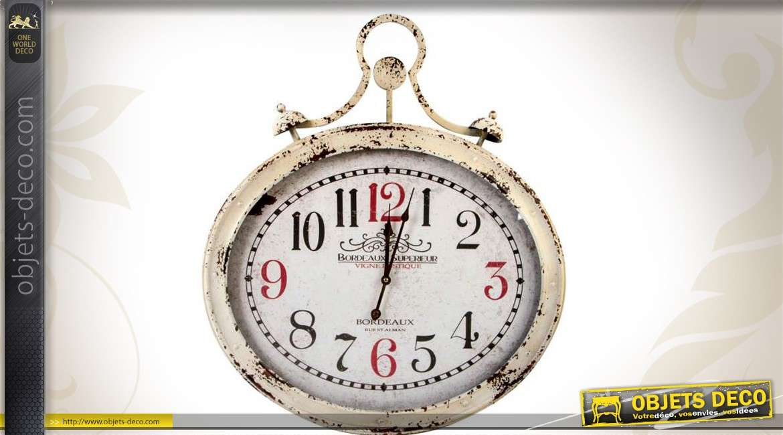 Grande horloge murale ovale en m tal style vintage - Tres grande horloge murale ...