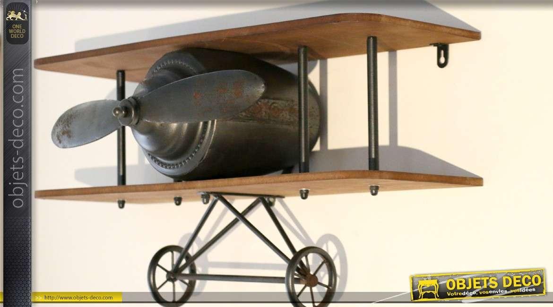 Etagère murale déco en bois et métal motif avion à hélice