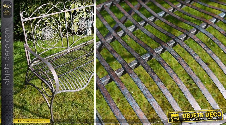 Banc de jardin en m tal et fer forg coloris m tal antique for Deco jardin en fer