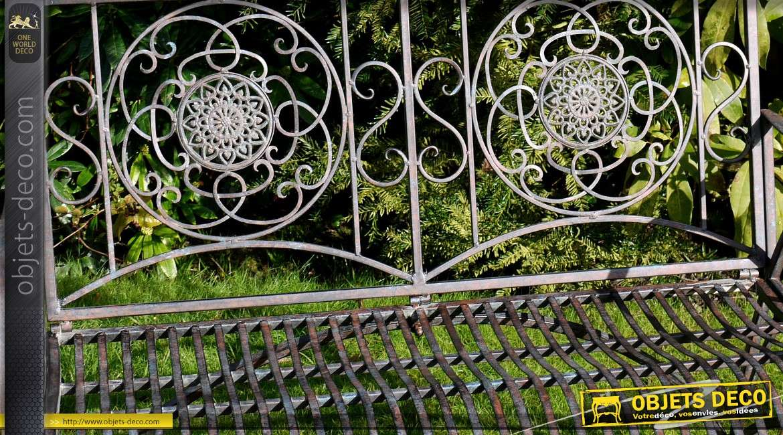 Banc de jardin en m tal et fer forg coloris m tal antique for Banc de jardin en fer forge