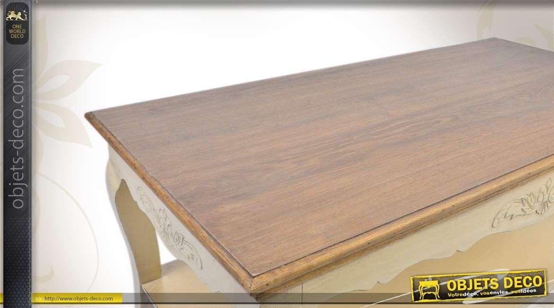Table basse en bois de style classique patine cr me for Objet deco pour table basse