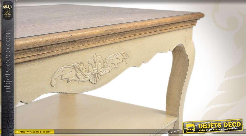 table basse en bois de style classique patine cr me. Black Bedroom Furniture Sets. Home Design Ideas