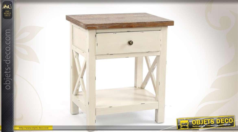 Table de chevet bicolore 2 plateaux avec tiroir - Table de chevet coloniale ...