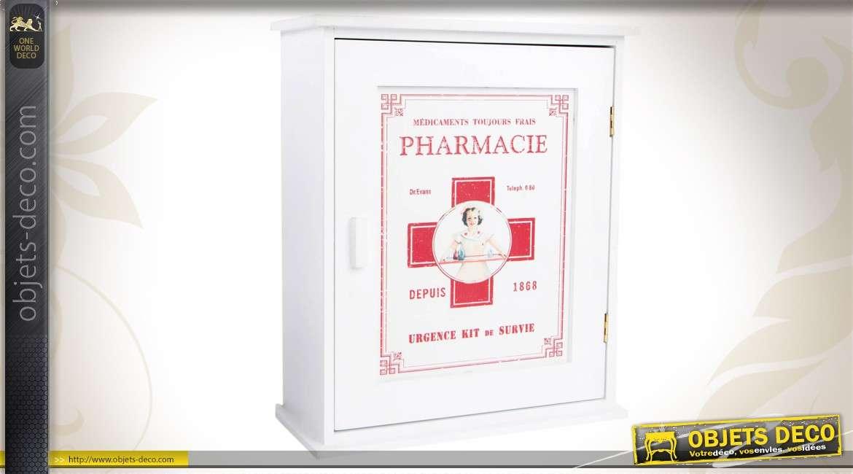 Armoireà pharmacie en bois coloris blanc et rouge # Bois Bandé En Pharmacie