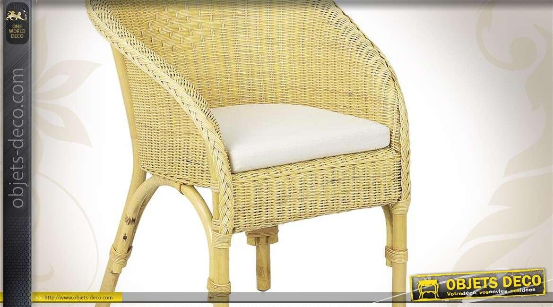 Coussin de fauteuil en coton coloris blanc