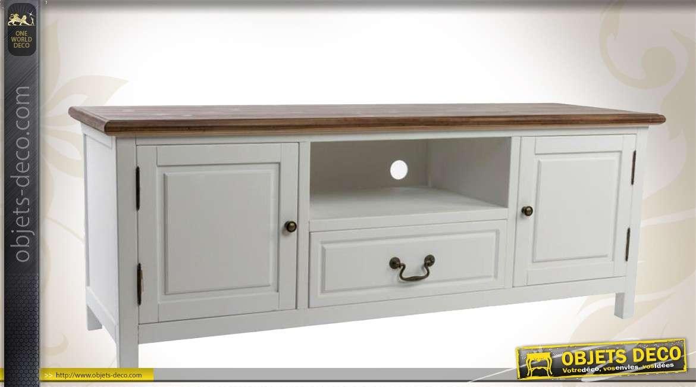 Meuble tv country gris et marron avec 2 portes et 1 tiroir for Meuble 2 porte 1 tiroir