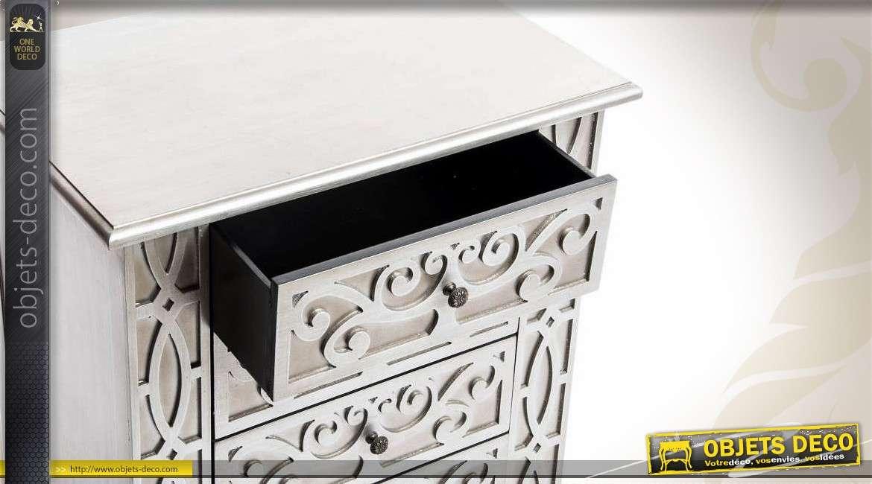 table de chevet de style art d co coloris argent 4 tiroirs. Black Bedroom Furniture Sets. Home Design Ideas