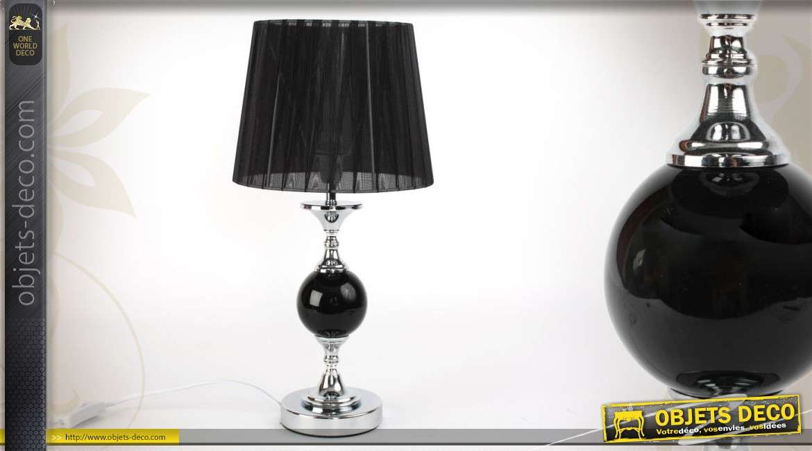 lampe de table sph re noire 46 cm. Black Bedroom Furniture Sets. Home Design Ideas