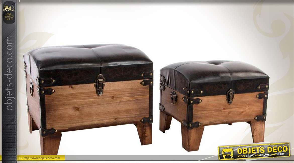 s rie de deux poufs coffres en bois et similicuir. Black Bedroom Furniture Sets. Home Design Ideas