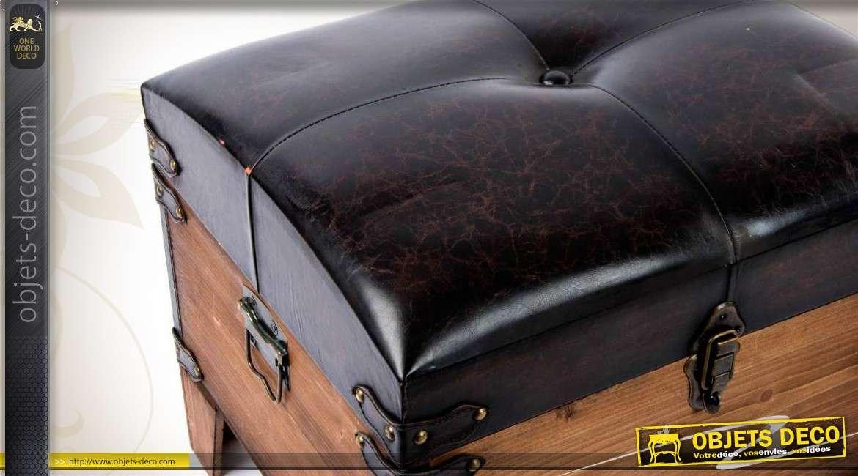 s rie de deux poufs coffres en bois et similicuir. Black Bedroom Furniture Sets. Home Design Ideas