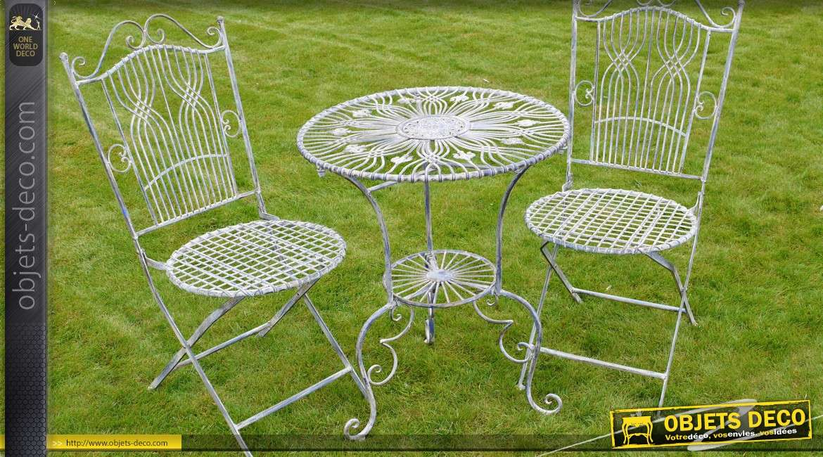 Salon de jardin 2 places fer forg et m tal gris antique for Salon jardin metal