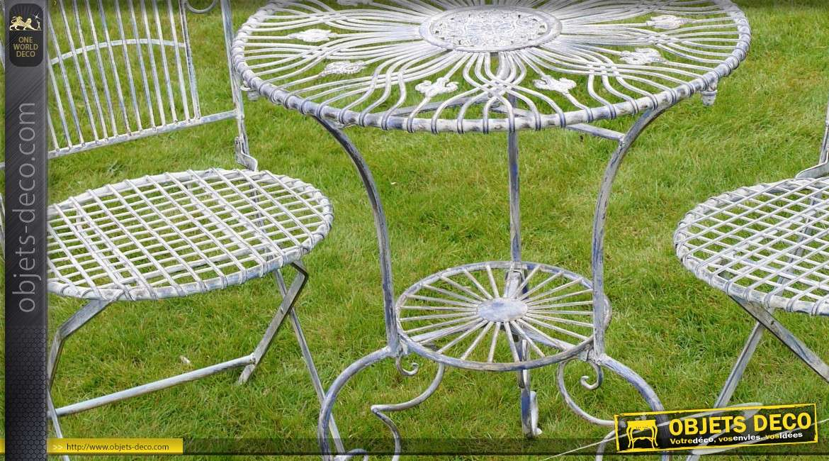 Salon de jardin 2 places fer forg et m tal gris antique for Deco jardin en fer