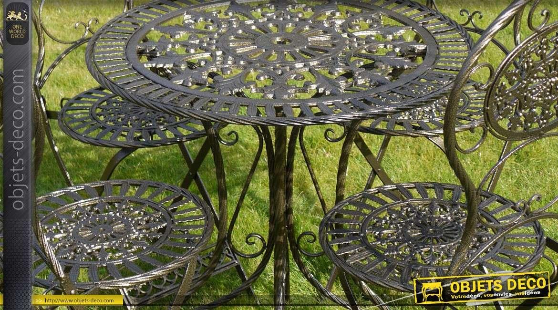 Salon de jardin 4 personnes fer forgé coloris noir finition dorée