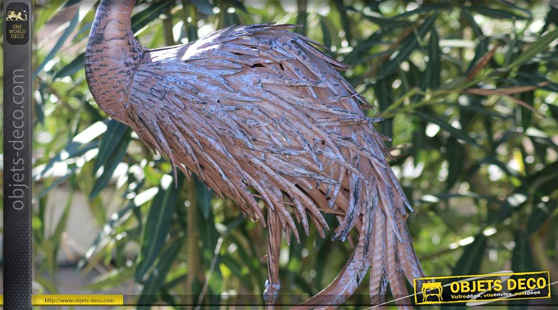 Statuette en métal d'un oiseau échassier finition oxydée 94 cm
