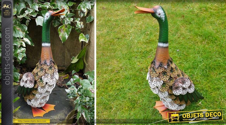Statuette décorative en métal de canard colvert 52 cm