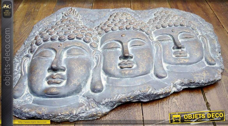 D coration murale les trois bouddhas 70 x 53 cm for Deco murale annee 70
