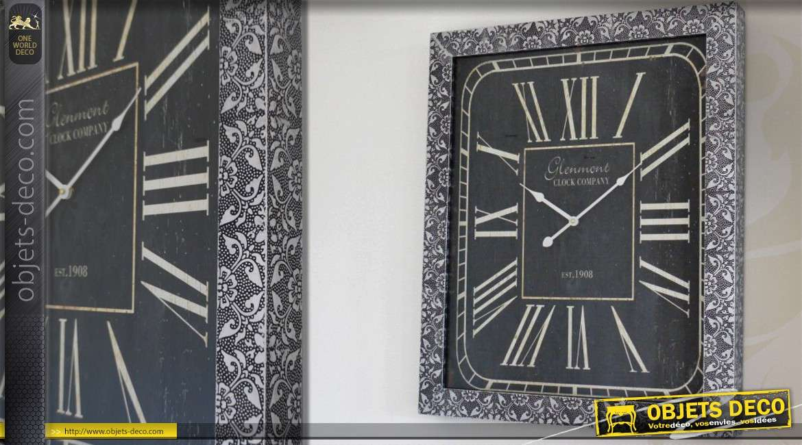 horloge murale rectangulaire noir et argent 70 cm. Black Bedroom Furniture Sets. Home Design Ideas