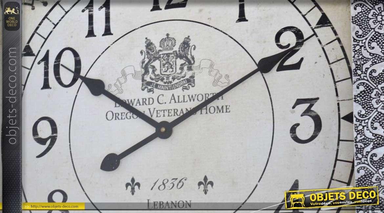 horloge d corative murale carr e noir et argent 60 x 60 cm. Black Bedroom Furniture Sets. Home Design Ideas